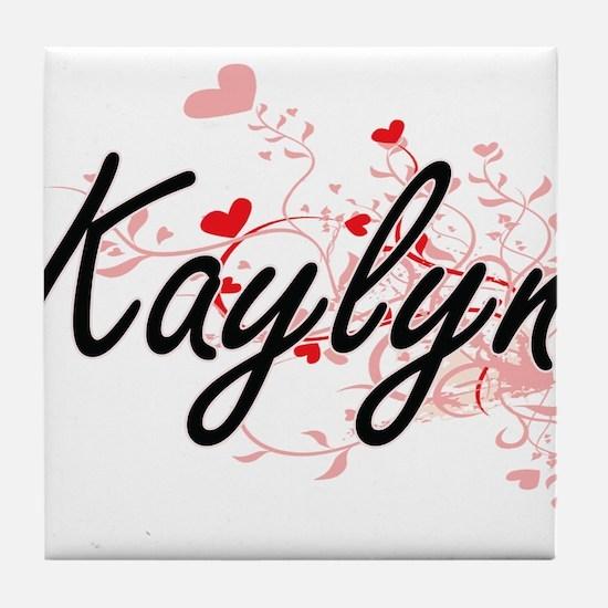 Kaylyn Artistic Name Design with Hear Tile Coaster