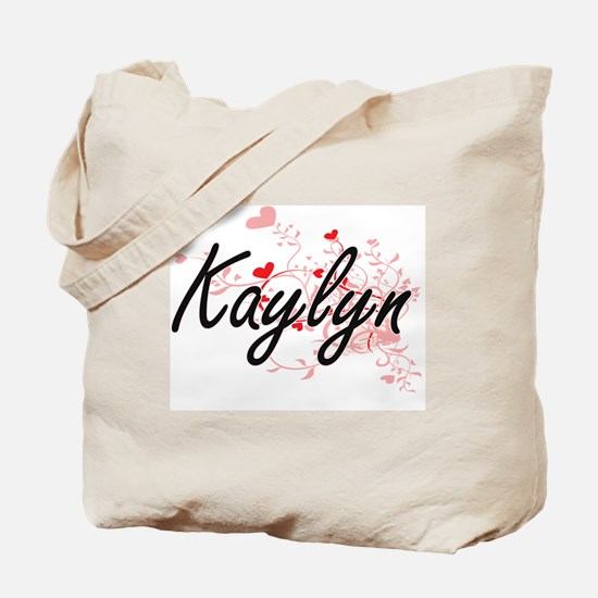 Kaylyn Artistic Name Design with Hearts Tote Bag