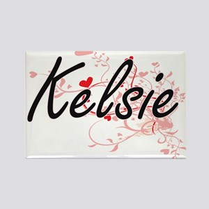 Kelsie Artistic Name Design with Hearts Magnets