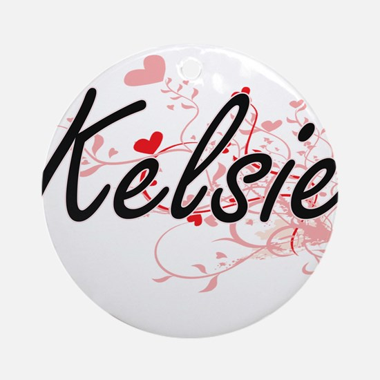 Kelsie Artistic Name Design with Ornament (Round)