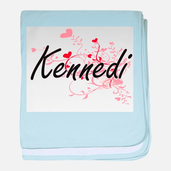 Kennedi Artistic Name Design with Hea baby blanket