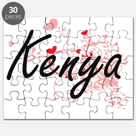 Kenya Artistic Name Design with Hearts Puzzle