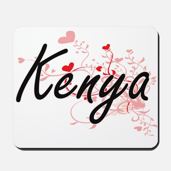 Kenya Artistic Name Design with Hearts Mousepad