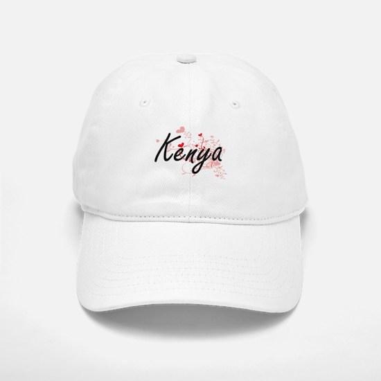Kenya Artistic Name Design with Hearts Baseball Baseball Cap