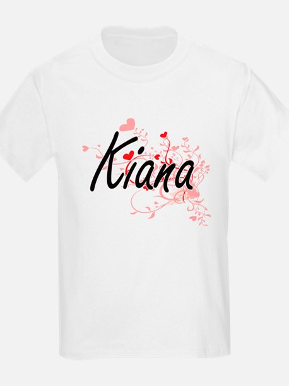 Kiana Artistic Name Design with Hearts T-Shirt