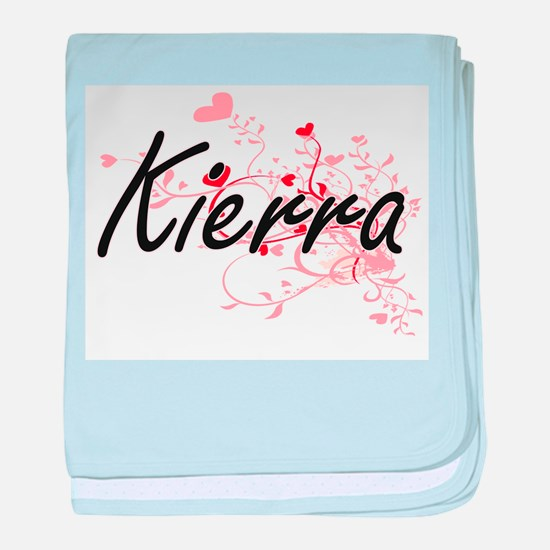 Kierra Artistic Name Design with Hear baby blanket