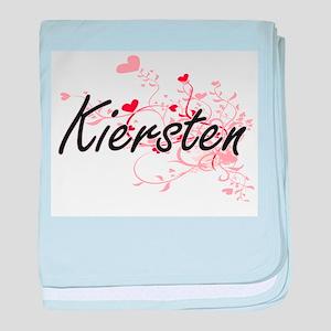 Kiersten Artistic Name Design with He baby blanket
