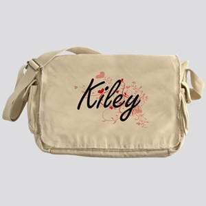 Kiley Artistic Name Design with Hear Messenger Bag