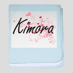 Kimora Artistic Name Design with Hear baby blanket