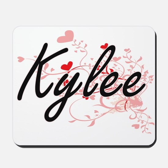 Kylee Artistic Name Design with Hearts Mousepad
