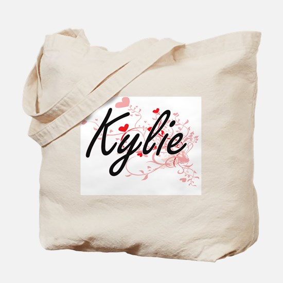 Kylie Artistic Name Design with Hearts Tote Bag