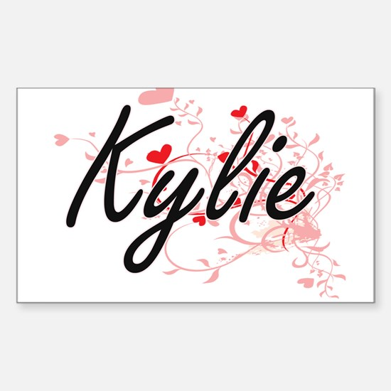 Kylie Artistic Name Design with Hearts Decal