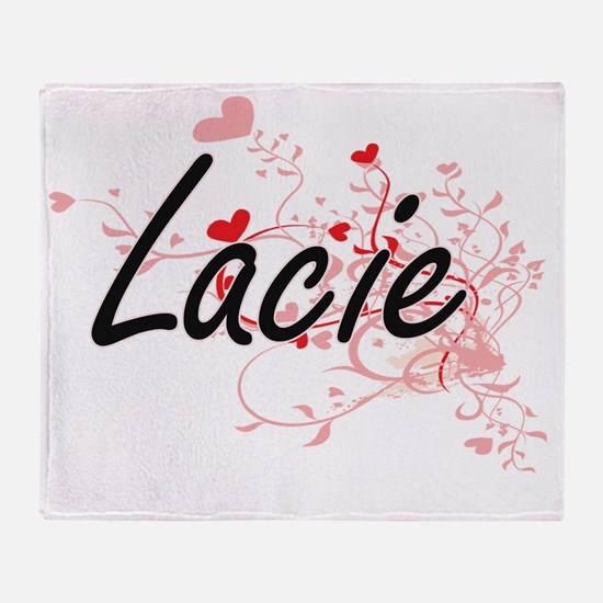 Lacie Artistic Name Design with Hear Throw Blanket