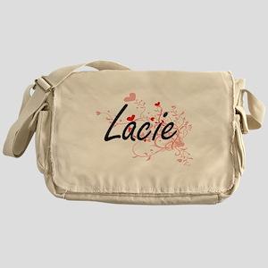 Lacie Artistic Name Design with Hear Messenger Bag