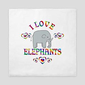 I Love Elephants Queen Duvet