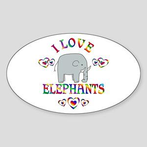 I Love Elephants Sticker (Oval)