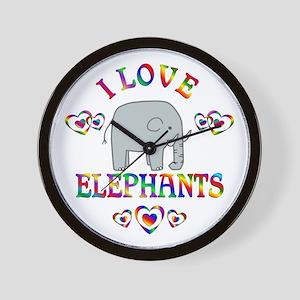 I Love Elephants Wall Clock
