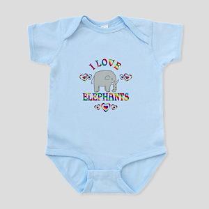 I Love Elephants Infant Bodysuit