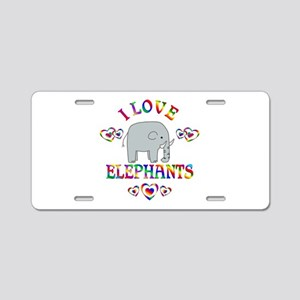 I Love Elephants Aluminum License Plate