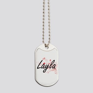 Layla Artistic Name Design with Hearts Dog Tags