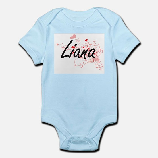 Liana Artistic Name Design with Hearts Body Suit
