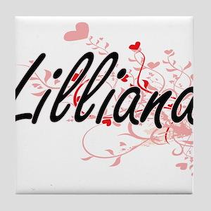 Lilliana Artistic Name Design with He Tile Coaster