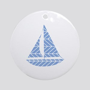 Chevron Sailboat Round Ornament