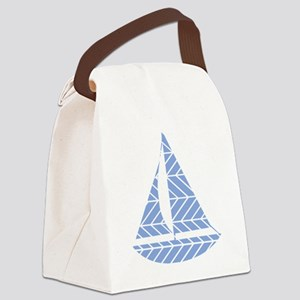 Chevron Sailboat Canvas Lunch Bag
