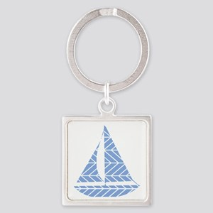 Chevron Sailboat Square Keychain