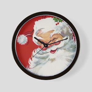 Vintage Christmas Jolly Santa Claus Wall Clock