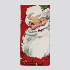 Vintage Christmas Jolly Santa Claus Beach Towel