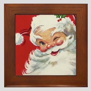 Vintage Christmas Jolly Santa Claus Framed Tile