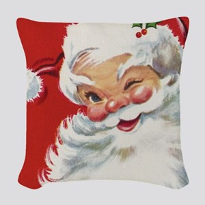 Vintage Christmas Jolly Santa Woven Throw Pillow