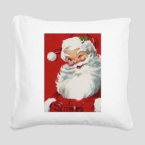Vintage Christmas Jolly Santa Square Canvas Pillow