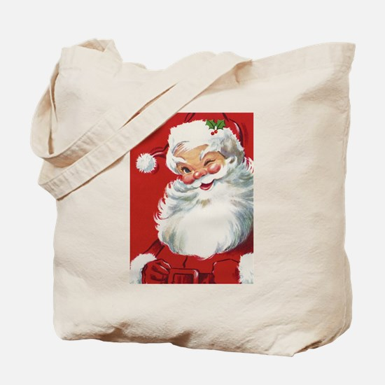 Vintage Christmas Jolly Santa Claus Tote Bag