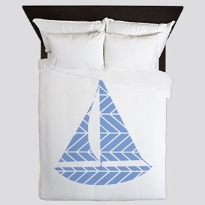 Chevron Sailboat Queen Duvet