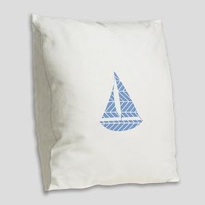 Chevron Sailboat Burlap Throw Pillow