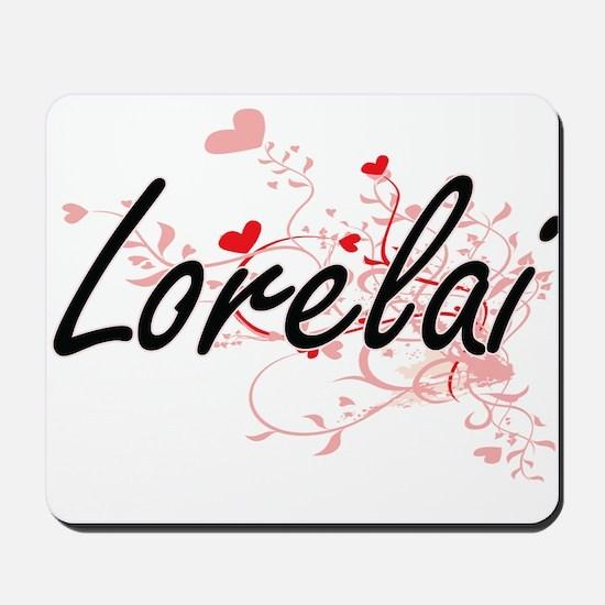 Lorelai Artistic Name Design with Hearts Mousepad