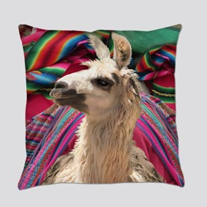 festive llama Everyday Pillow