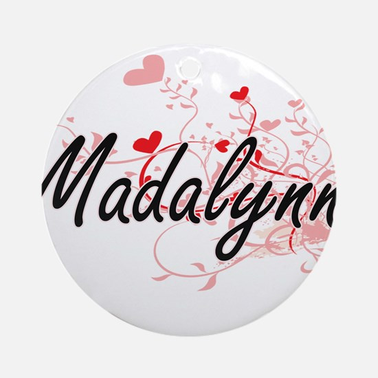 Madalynn Artistic Name Design wit Ornament (Round)