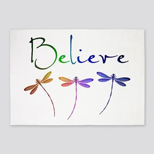 Believe...dragonflies 5'x7'Area Rug
