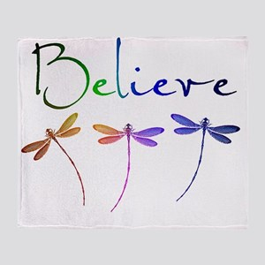 Believe...dragonflies Throw Blanket