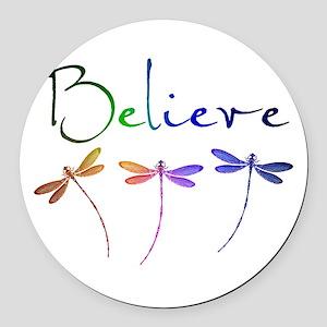 Believe...dragonflies Round Car Magnet