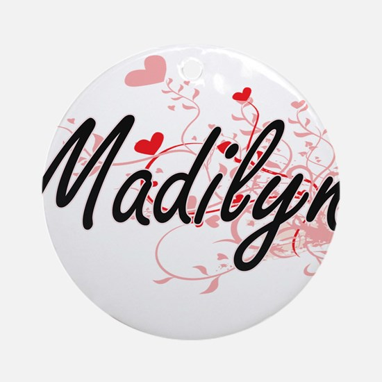 Madilyn Artistic Name Design with Ornament (Round)