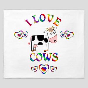 I Love Cows King Duvet