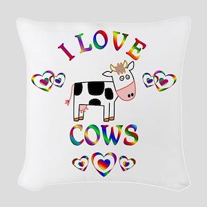 I Love Cows Woven Throw Pillow