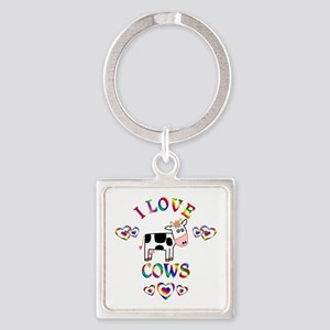 I Love Cows Square Keychain