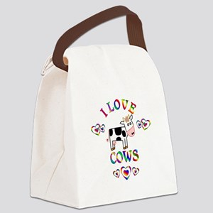 I Love Cows Canvas Lunch Bag