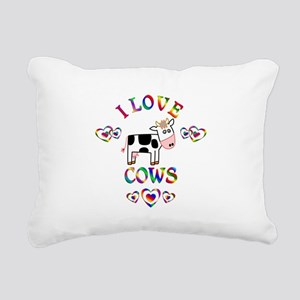 I Love Cows Rectangular Canvas Pillow