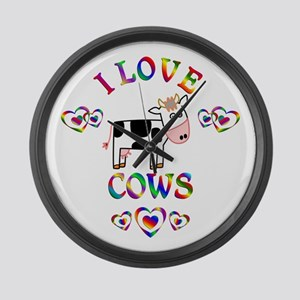 I Love Cows Large Wall Clock